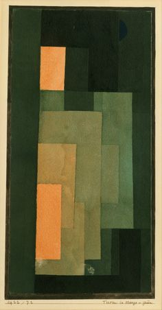 Paul Klee, Tower in Orange and Green, 1922 - watercolour, ink, and graphite on paper, bordered with ink