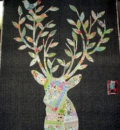 Hannah: Stag Nation quilt pattern by Rana Heredia. Quilting Projects, Sewing Projects, Sampler Quilts, Animal Quilts, Barn Quilts, Mini Quilts, Applique Quilts, Quilt Blocks, Fiber Art