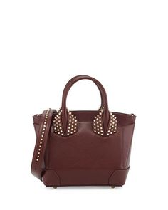 Eloise Small Leather Spike Tote Bag, Bordeaux by Christian Louboutin at Neiman Marcus.
