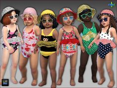 Arte Della Vita: Sets with 6 swimsuits, hats and sunglasses for toddlers • Sims 4 Downloads