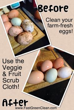 The Norwex Veggie and Fruit Scrub Cloth is great for cleaning farm-fresh eggs! Check out this before/after photo from one of my customers! Norwex Biz, Norwex Cleaning, Green Cleaning, Cleaning Hacks, Norwex Australia, Norwex Cloths, Norwex Party, Norwex Consultant, Natural Cleaning Products
