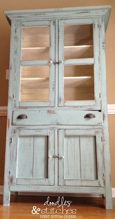 Wow, this is a really really old hand built pie safe, newly painted in ASCP Duck Egg. But I think I liked it the way it was before better! Very natural and shabby.