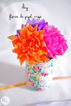 Welcome Pot idea - crepe paper flowers Tissue Paper Flowers, Felt Flowers, Diy Flowers, Zipper Flowers, Button Flowers, Craft Projects For Kids, Diy Projects, School Projects, Craft Ideas