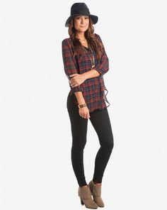 My Type Of Style Plaid Top - Navy & Red from Apricot Lane Boutique: $33