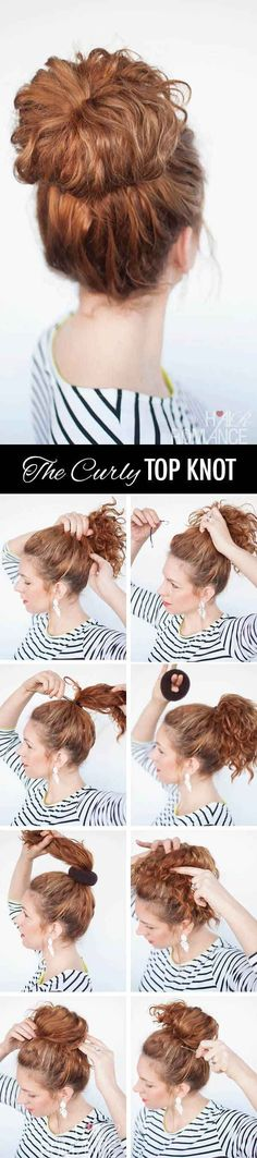 Pull hair into a curly top knot.