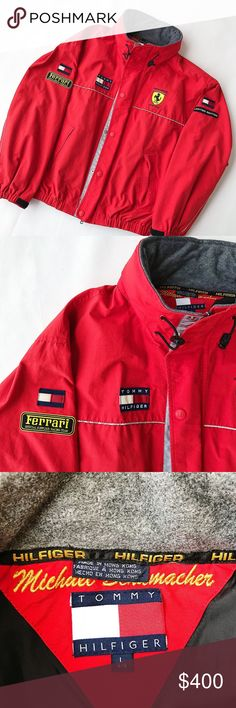 TOMMY HILFIGER X FERRARI VTG FORUMLA 1 JACKET RARE Amazing vintage 90s Tommy Hilfiger x Ferrari Formula 1 Racing Jacket. Tons of branding patches and 3M reflective hits all over. Possibly Formula 1 Racer Michael Schumacher's personal jacket, it has his name stitched in behind the tags, I haven't seen this on any other of these. Excellent condition aside from some flaking on the 3M. Men's size large. Zip up and packable hood. Tommy Hilfiger Jackets & Coats