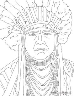 NATIVE AMERICANS coloring pages - POWHATAN coloring page