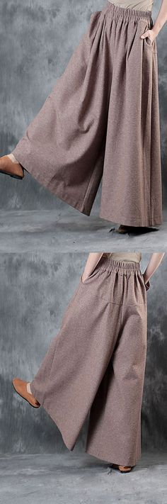 pink wide leg pants oversize elastic waist winter pants skirt winter th… - Hosen Muslim Fashion, Hijab Fashion, Fashion Outfits, Dress Sewing Patterns, Clothing Patterns, Winter Rock, Hijab Style Dress, Mode Abaya, Estilo Hippie