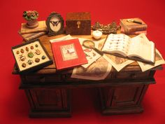Desk for an entomologist.  In Miniature 1:12 scale.