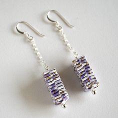 Light Purple Folded Paper Earrings
