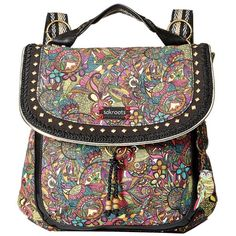 Sakroots Artist Circle Convertible Backpack (Rainbow Spirit Desert)... ($69) ❤ liked on Polyvore featuring bags, backpacks, convertible crossbody backpack, flap backpack, sakroots, day pack backpack and convertible backpack