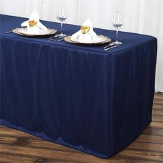 6FT Fitted NAVY BLUE Wholesale Polyester Table Cover Wedding Banquet Event Tablecloth /  Premium quality polyester tablecloths with perfect fitting are a perfect choice to accommodate all your indoor and outdoor table decorating needs. Transform your dreary and lackluster party tables and table covers into elegant tablescapes by swathing with these chic beauties. The top quality polyester material will not only spruce your Party tables up, but is sturdy and durable enough to withstand the…