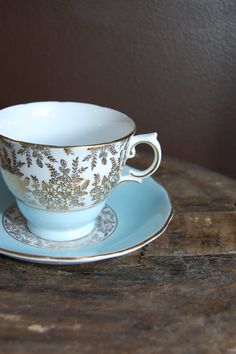 ROYAL VALE Bone China Tea Cup and Saucer Pastel Blue with gold floral