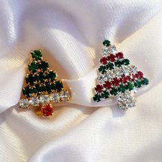 Lot 2 Rhinestone Christmas Tree Scatter Pins by MarlosMarvelousFinds 06040f4775c8