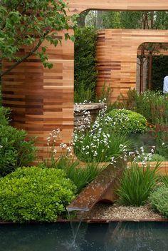 Creative Water Garden in Backyard