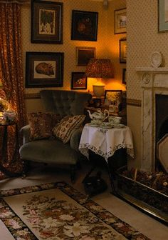 A fire in the grate, a comfy chair, and a table for her tea things. All this needs to complete it is Miss Marple to show up with her knitting bag.