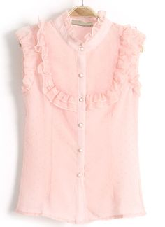 Pink Stand Collar Sleeveless Polka Dot Blouse. So reminds me of my mom, circa 1956.