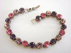 Vintage 50s MultiColor Rhinestone Bracelet by joysshop on Etsy, $10.95
