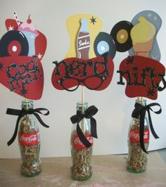 fifties Table Centerpiece Ideas | 50s Party Centerpieces  http://craftsinthecommandcenter.blogspot.