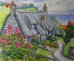 """Daily Paintworks - """"An English Summer by the Sea Storybook Cottage Series"""" - Original Fine Art for Sale - © Alida Akers Art And Illustration, Illustrations, Cute Cottage, Cottage Art, Fantasy Drawings, Fantasy Art, Storybook Cottage, All Nature, Doodle"""