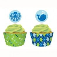 Ocean Preppy Boy Cupcake Picks Pkt12 $4.95   20099016