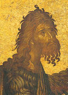 Angelos Akotantos ~ Icon of St John the Baptist (detail), c. 1st half 15th century