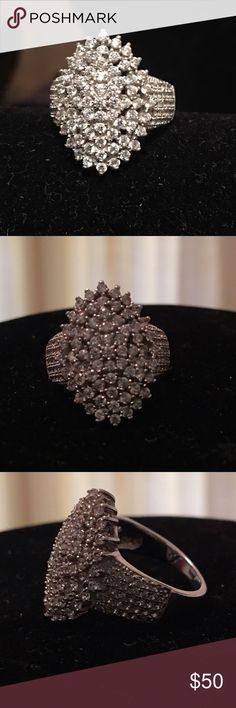 Sterling silver Rhodium over Diamond simulant Ring This is a Stunning Sterling silver Rhodium over for a lifetime of beauty diamond simulant ring!💎 LOTS OF SPARKLE ON THIS ONE! Jewelry Rings
