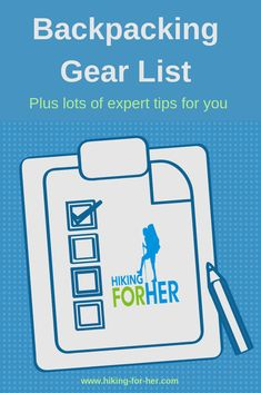 Need a backpacking gear list for an upcoming hiking trip? Here's one from Hiking For Her, with lots of backpacking tips. Hiking Gear Women, Best Hiking Gear, Hiking Tips, Hiking Checklist, Hiking Food, Backpacking Gear List, Camping Essentials List, Ultralight Backpacking, Family Camping
