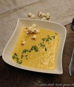Rezept Maissuppe mit Rahm. Mais Suppenliebe, Popcorn Popcorn, Thai Red Curry, Ethnic Recipes, Food, Switzerland, Easy Meals, World, Essen, Meals