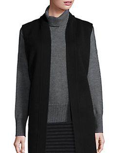 Eileen Fisher - Solid Wool Blend Long Vest