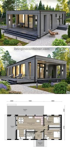 Container home grey black in color with nature attracting environment all around. Living in a container home give a modern life style. #shippingcontainerhomes #shippingcontainercabin #containerhouse #containerhousedesign #containerbuildings Tiny Container House, Sea Container Homes, Shipping Container Homes, House Foundation, Container Buildings, Home Landscaping, Small House Design, Kit Homes, Built In Storage