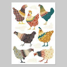 Chooks Art Print by Ivy Niu NZ Art Prints, Design Prints, Posters & NZ Design Gifts   endemicworld