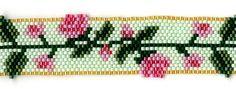 peyote+stitch+bird | Pink Roses Delica Beaded Bracelet