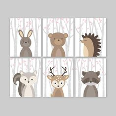 Baby Girl Nursery Decor Pink Woodland Animals Wall Art Pictures Forest Friends Prints or Canvas Bunny Deer Bear Squirrel Raccoon Set of 6 by YassisPlace Woodland Nursery, Woodland Animals, Baby Girl Nursery Decor, Nursery Ideas, Pink Forest, Thing 1, Wall Art Pictures, Nursery Pictures, Forest Friends