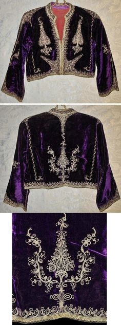 'Cepken' (long-sleeved vest).  Late-Ottoman, circa end of 19th century.  Probably from the Balkans (Albania?).  Part of a woman's festive costume.  Silk velvet, embroidered with silver thread in 'tutturma' technique (applied cord).