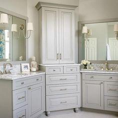 His and Hers Vanities, Transitional, bathroom, Kandrac Kole Interiors