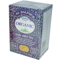 St. Dalfour, Organic, Earl Grey Tea, 25 Tea Bags, 1.75 oz (50 g) - iHerb.com. Bruk gjerne rabattkoden min (CEC956) hvis du vil handle på iHerb for første gang. Da får du $5 i rabatt på din første ordre (eller $10 om du handler for over $40), og jeg blir kjempeglad, siden jeg får poeng som jeg kan handle for på iHerb. :-)