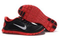 Nike Free Run 4.0 V3 Mens Shoes Breathable Black Red