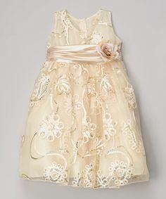 Look what I found on #zulily! Champagne Sequin Overlay Dress - Toddler #zulilyfinds