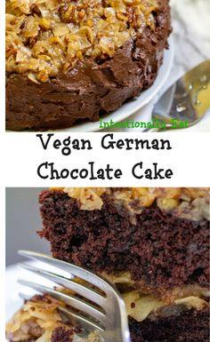German Chocolate, Chocolate Cake, Birthday Desserts, Best Vegan Recipes, Vegan Baking, Going Vegan, Delicious Desserts, Dairy Free, Eat