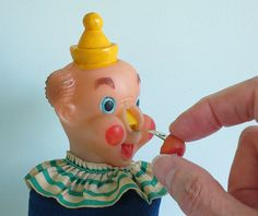 Vintage Clown Pin Cushion, Pull Out His Red Nose to Reveal a Tape Measure!