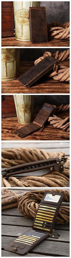 LISABAG--Handmade Long Leather Wallet Leather Purse Card Holder For Men MT04