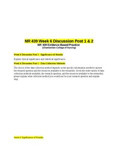 Week 6 Discussion Post 1 - Significance of ResultsExplain clinical significance and statistical significance.Week 6 Discussion Post 1 - Data Collection MethodsThe choice of the data collection method depends on the specific information needed to answer the research question and the resources available to the researcher. Given the wide variety of data collection methods available, the research question, and the resources available to the researcher, please explain what collection method you…