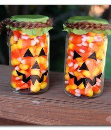 fun and easy pumpkin face jars -- using candy corn!