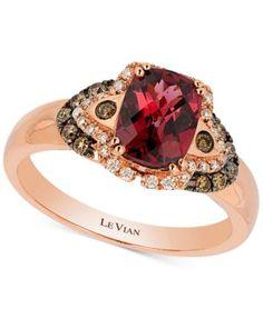 Le Vian Raspberry Rhodolite Garnet (1-1/2 ct. t.w.) and Diamond (1/5 ct. t.w.) Ring in 14k Rose Gold