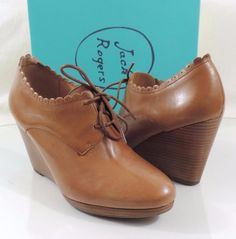 93674aa49638 Women s Shoes Jack Rogers OLIVIA Oxford Wedge Booties Leather Oak Tan Size  9  JackRogers