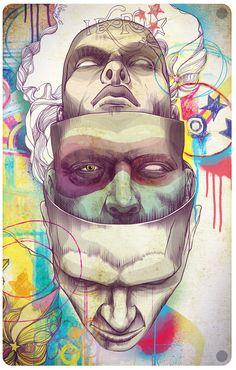 Ideas Pop Art Face Self Portraits Art And Illustration, Illustrations Posters, Art Sketches, Art Drawings, Pop Art Face, Graffiti, Tachisme, Psy Art, Arte Horror