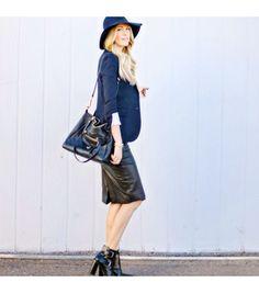 @Who What Wear - Dashofdarling is wearing: Tibi booties, Zara skirt, Louis Vuitton bag, Tory Burch hat.  Get The Look: Theory Idra Jacket ($395) in Pryor  See more ways to wear navy blazers on Pose.com.