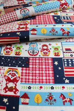 Japanese Fabric Russian Doll Fabric Matryoshka by thelastwhitecat