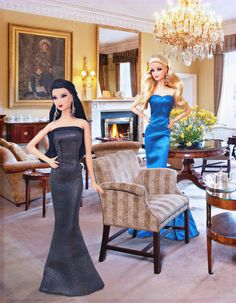 Two beauties.  In this photo: Red Carpet™ Barbie® - Grey & Black Gown and Red Carpet™ Barbie® - Blue Gown.